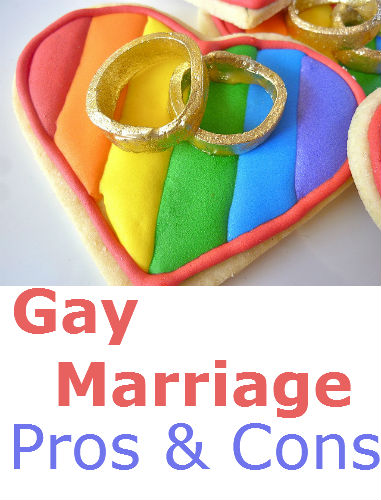 the pros and cons of gay marriage Question: what does the bible say about gay marriage / same sex marriage answer: while the bible does address homosexuality, it does not explicitly mention gay marriage/same-sex marriage it is clear, however, that the bible condemns homosexuality as an immoral and unnatural sin.