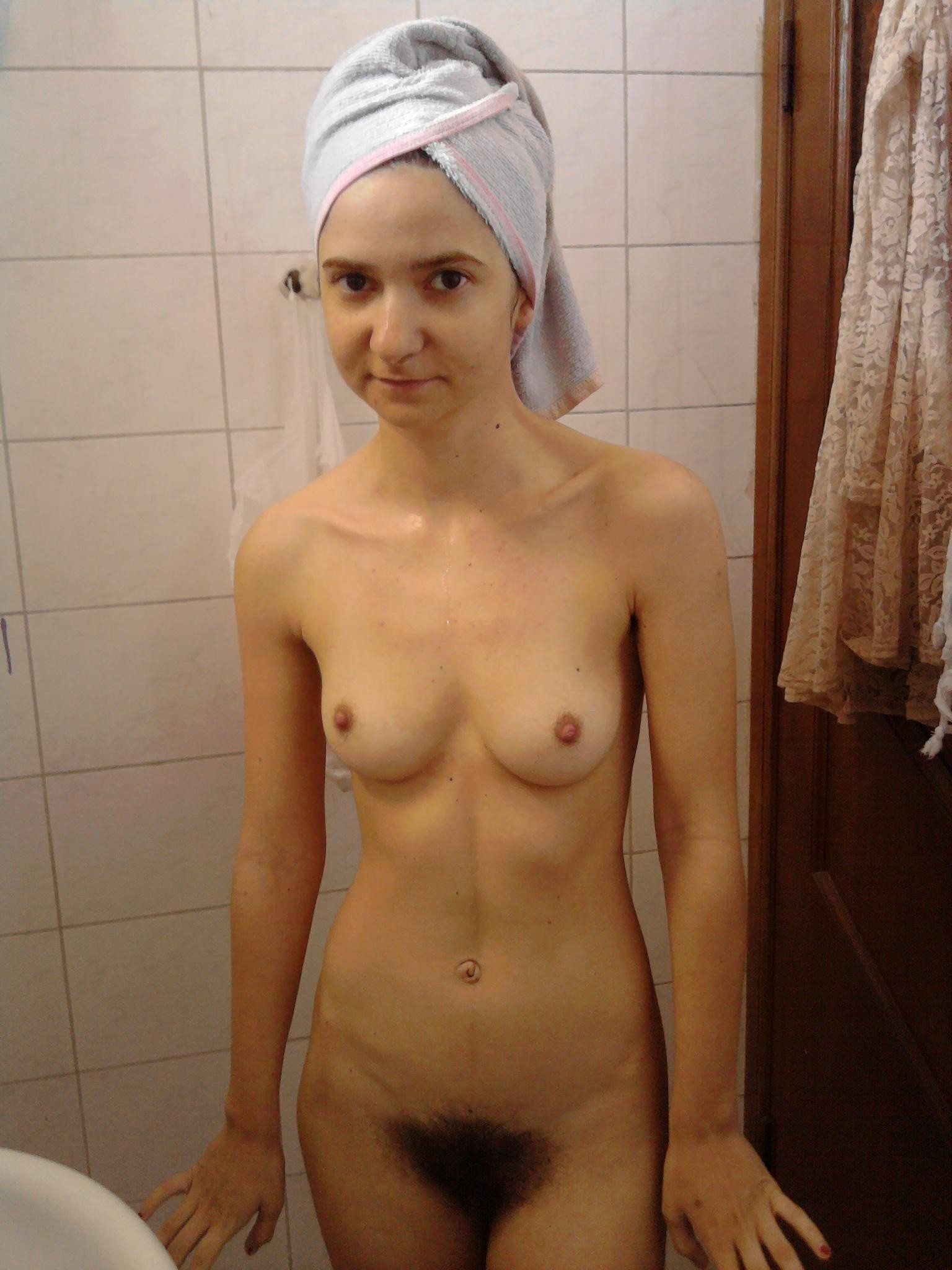 nude girl in open bathroom